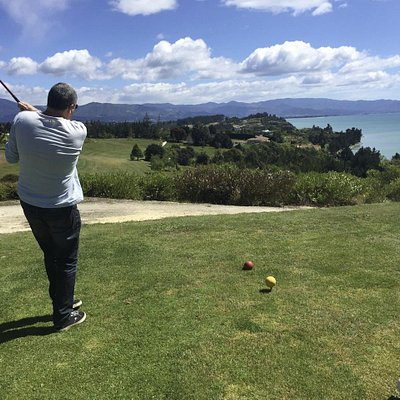 Fourth hole at the Tasman Golf Club. The green is waaaaay off over those trees.