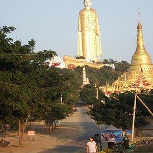 Laykyun Sekkya giant standing Buddha Monywa a kilometre away as viewed from Khatakan Taung villa