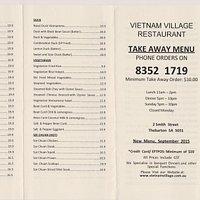 Take Away Menu - Both sides - Prices Same as Dine In