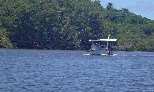 trajeto de barco até o Rio do Engenho