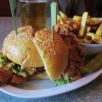 Buffalo chicken sandwich and tuscan fries...