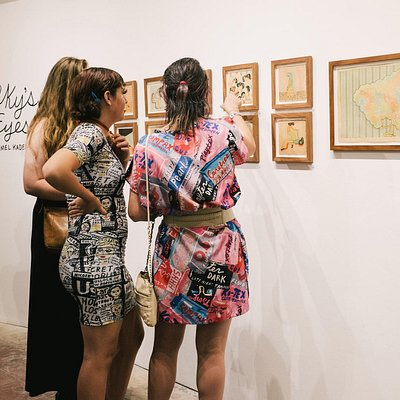 Lovely Ladies drinking in the art at the Milk and Honey Contemporary Art Gallery  in Calif.
