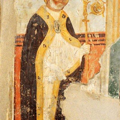 dipinto sulla parete ovest, vescovo, non identificato. Epoca rinascimentale