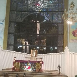 The Altar with the Cross located outside the church