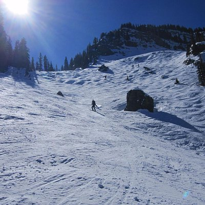 Far side of Hunziger Bowl. Watch out for the rocks.