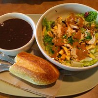 Black beans soup&Thai Chicken salad ・Thai Garden Chicken Wonton&steak&arugla sandwich
