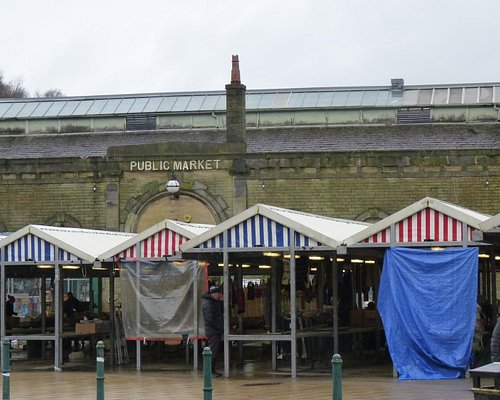 Open air covered  Market Stalls in front of  Market Hall