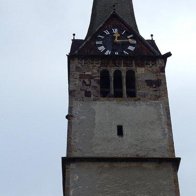 Bischofshofen, Frauenkirche, Tower with clock