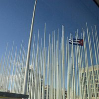 flag poles in abundance in front of the US Embassy