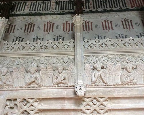 Stone carving above the tomb