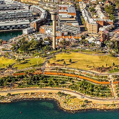 Aerial view of Barangaroo Reserve