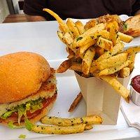fried cod sandwich with fries