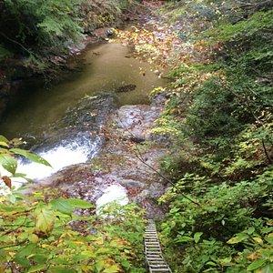 トッカケの滝をはしごの上から見下ろす