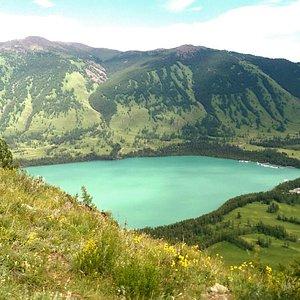 群山環繞中的湖泊