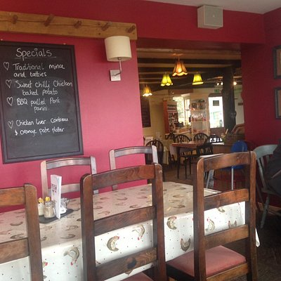 the attractive interior of the Peel Farm cafe
