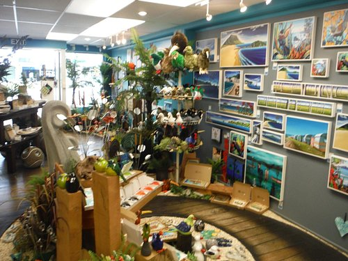 A nature themed display of artwork.