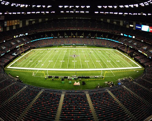 View of the Mercedes-Benz Superdome from the press box.