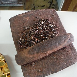 cocoa beans being transformed