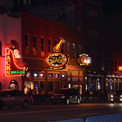 """""""Honky Tonk Hiway"""" after dark; lots of free music"""