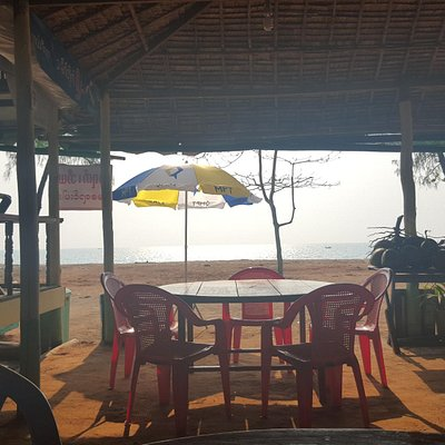 A view of the beach from one of the family-run restaurants