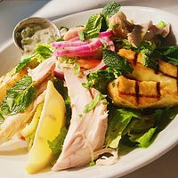 Cookhouse Joe chicken salad with halloumi
