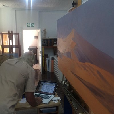 Paul setting up the landscape in the background before populating the foreground with animals!