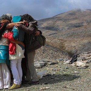 Ecopsycholists group hugging on Mt. Psiloritis