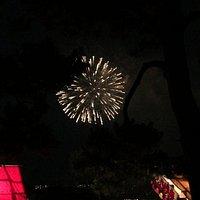 大濠公園日本庭園からの花火