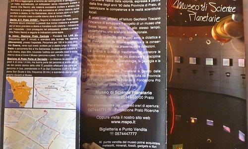 opuscolo Museo di Scienze Planetarie - Prato