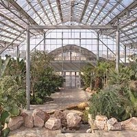 From inside the glass enclosure at Bayan Palace Botanical Gardens