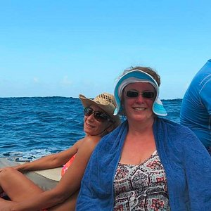 On the boat, headed from snorkeling to the island for lunch.