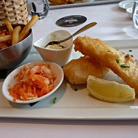 crisp fish & chips with excellent Matane shrimps salad