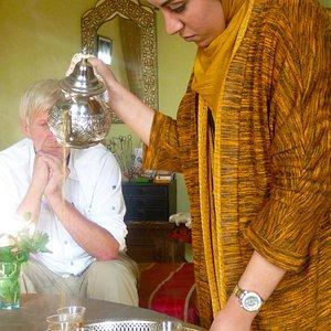 Preparing the delicious mint tea