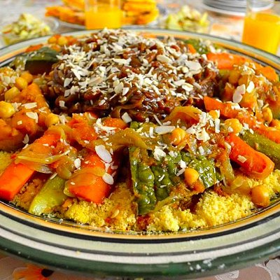 Vegetarian couscous with tfaya (caramelized onion and raison mixture).