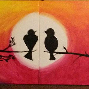 Date night love birds painting. (This is two paintings made to be one)