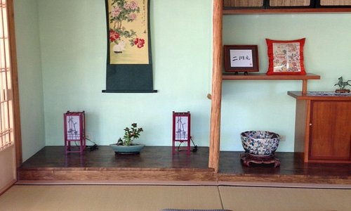 Inside tea house, guests welcome