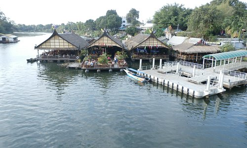 Pier and restaurants on the River Kwai