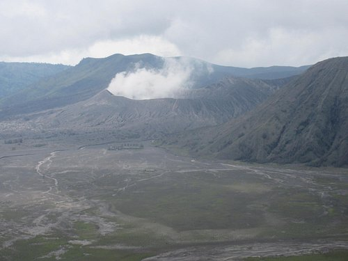 That's steam coming from the peak. Due to threat of volcanic activity, there were no tours into