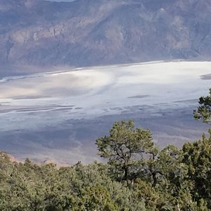 View of salt flats from Wildrose Saddle - on way to peak.