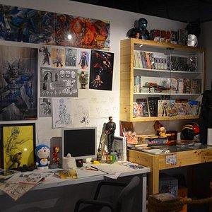 Replica of comic artist workstation