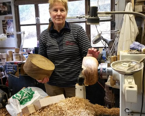 Anne in her wood shop.
