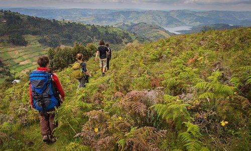 Hiking on the western shore of Bunyonyi