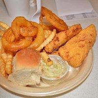 "Haddock dinner. Onion Rings are ""killer!"""
