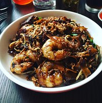 Char Kuey Teow - prawn and pork with rice noodles