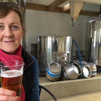 Enjoying a beer in Helmsley Brewery bar
