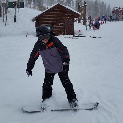 Nick's first time on a snowboard