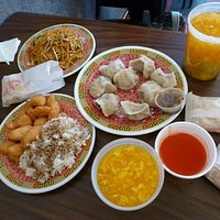 (Clockwise from top left) Lo Mein, Dumplings, Egg Drop Soup, Sweet and Sour Chicken
