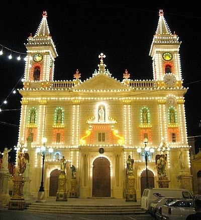The church lit up for the feast