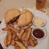 Typical burger plate with fries, slaw and ketchup ($5.30)