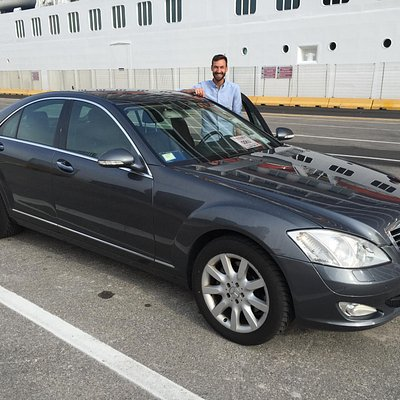 Matteo and our nice car for the tour- dropping off at cruise ship in Livorno.